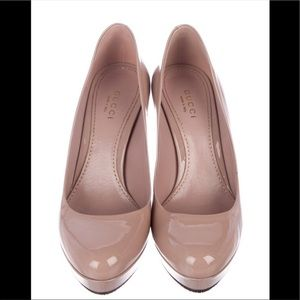 Gucci Pink Patent Leather  Platform Pumps
